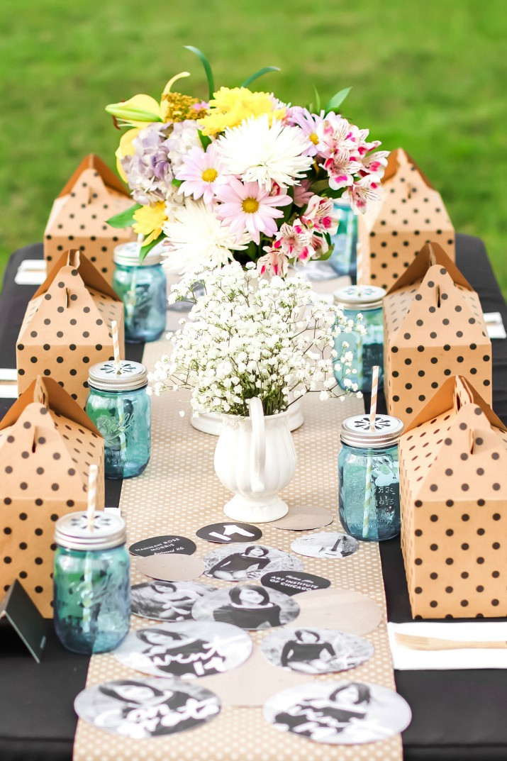 Table Decorations For Graduation Party Ideas  Shabby Chic Graduation Party Ideas with Boxed Lunch