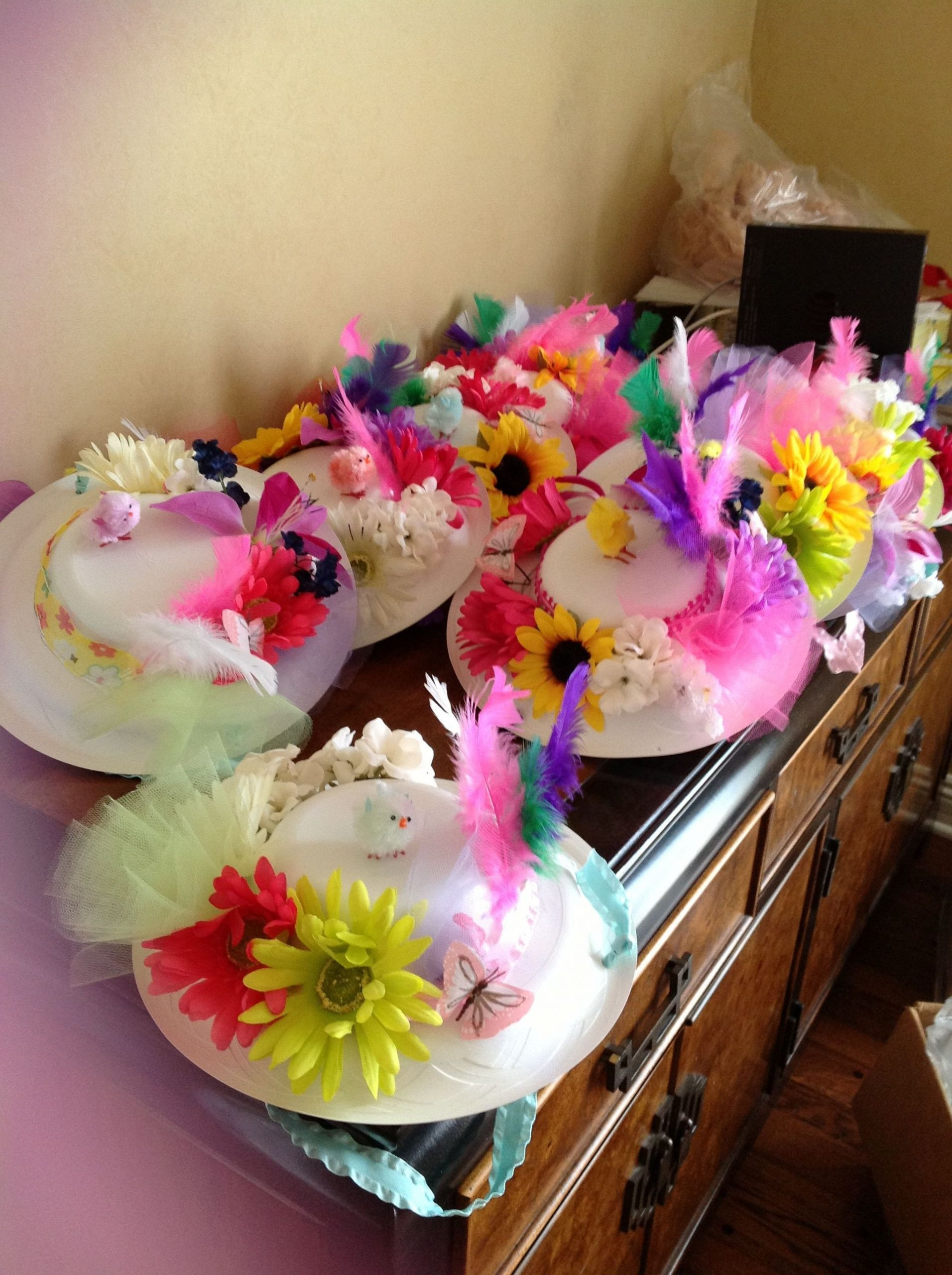 Tea Hat Party Ideas  I had my troop make tea party hats from Dixie plates for a