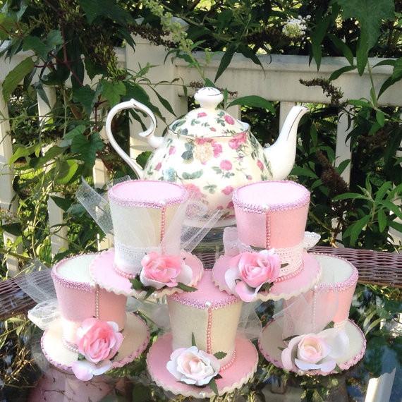 Tea Hat Party Ideas  Mother s Day Tea Party Decorations Set of 5 Felt Top
