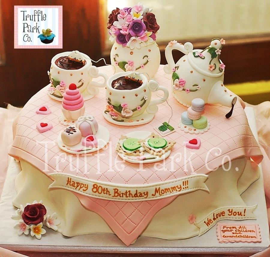 Tea Party Birthday Cake Ideas  Tea Party Themed Birthday Cake CakeCentral