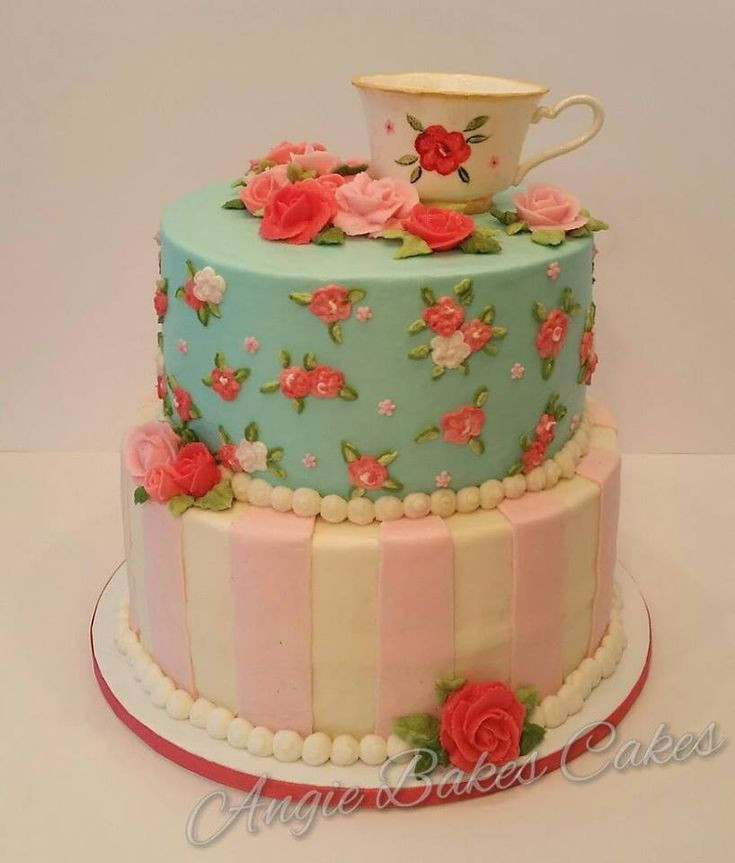 Tea Party Birthday Cake Ideas  Vintage china tea party themed cake with handmade