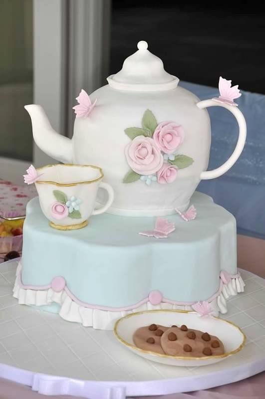 Tea Party Birthday Cake Ideas  357 best Tea Cups and Tea Pot Cakes images on Pinterest