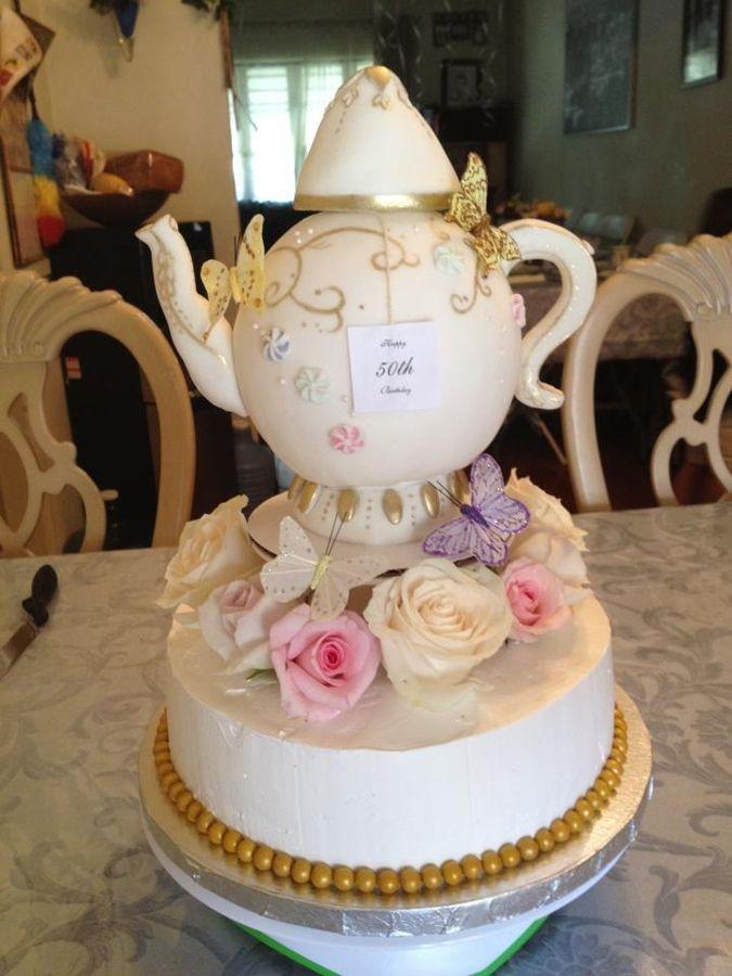 Tea Party Birthday Cake Ideas  50Th Birthday Teapot