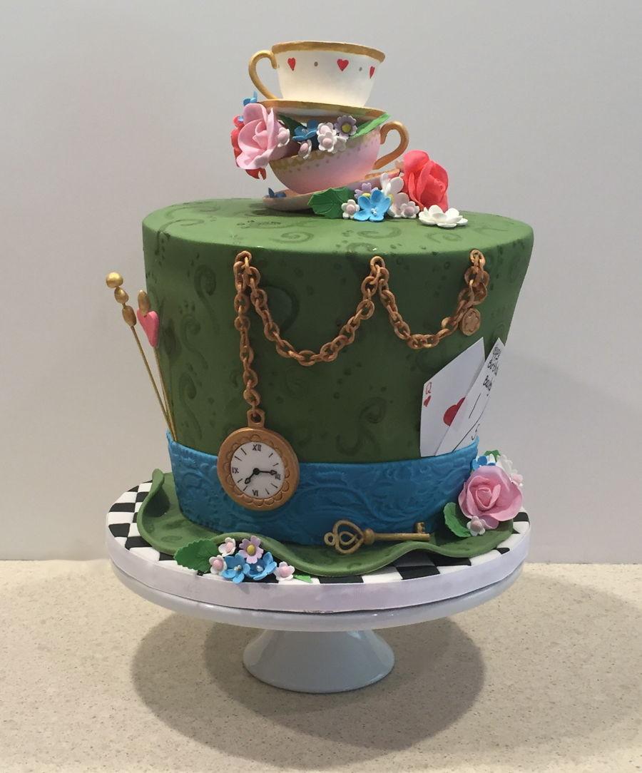Tea Party Birthday Cake Ideas  Mad Hatter Tea Party Birthday Cake CakeCentral