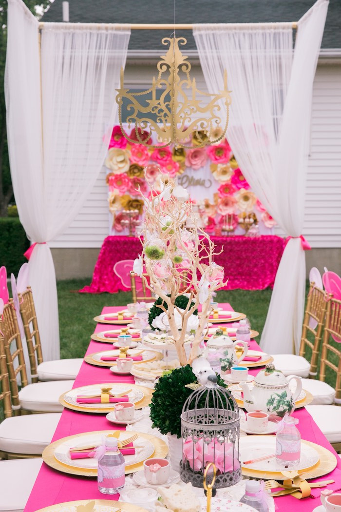 Tea Party Themes Ideas  Kara s Party Ideas Pink & Gold Garden Tea Party