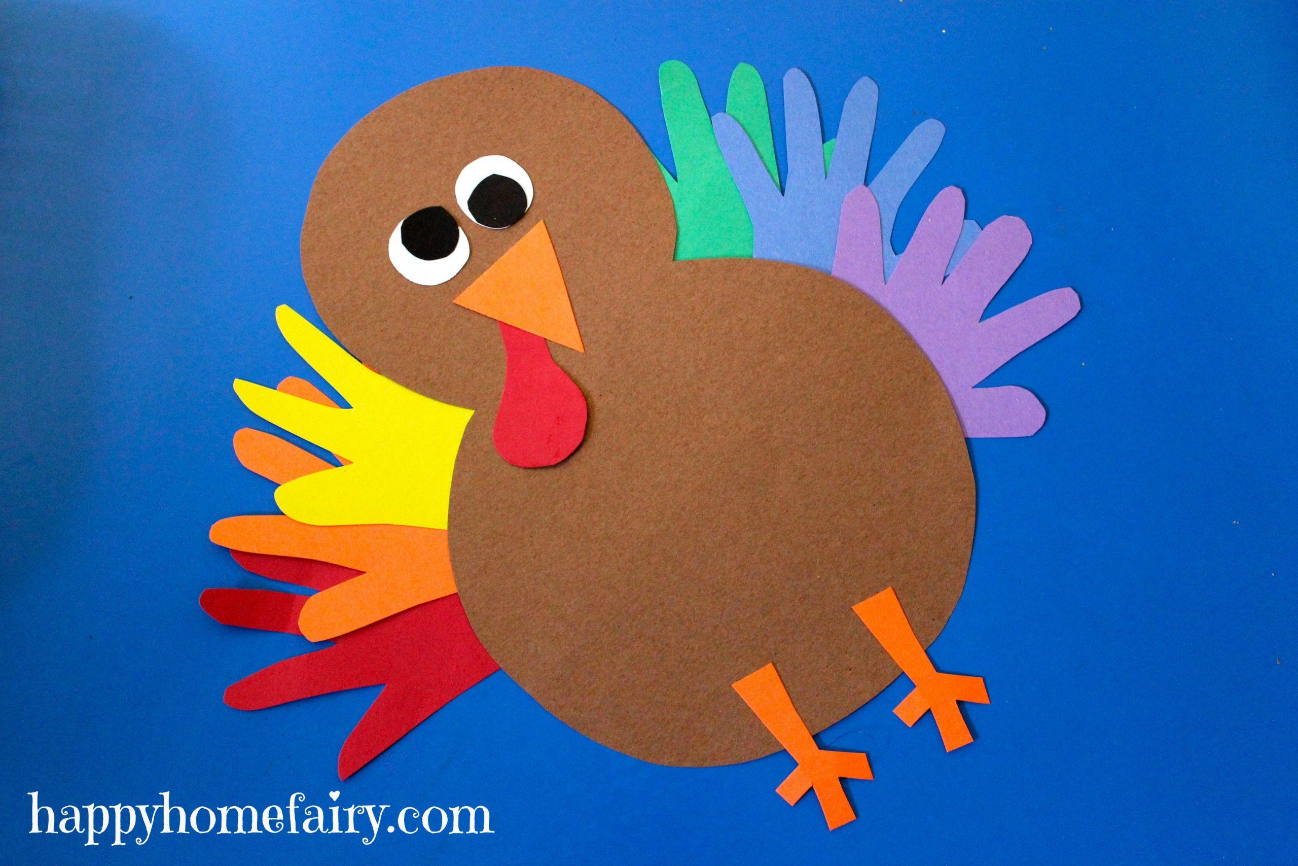 Thanksgiving Turkey Craft  Thankful Handprint Turkey Craft FREE Printable Happy