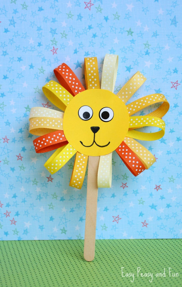 Toddler Arts And Craft Ideas  Ribbon Lion Puppet Craft Lion Crafts for Kids Easy