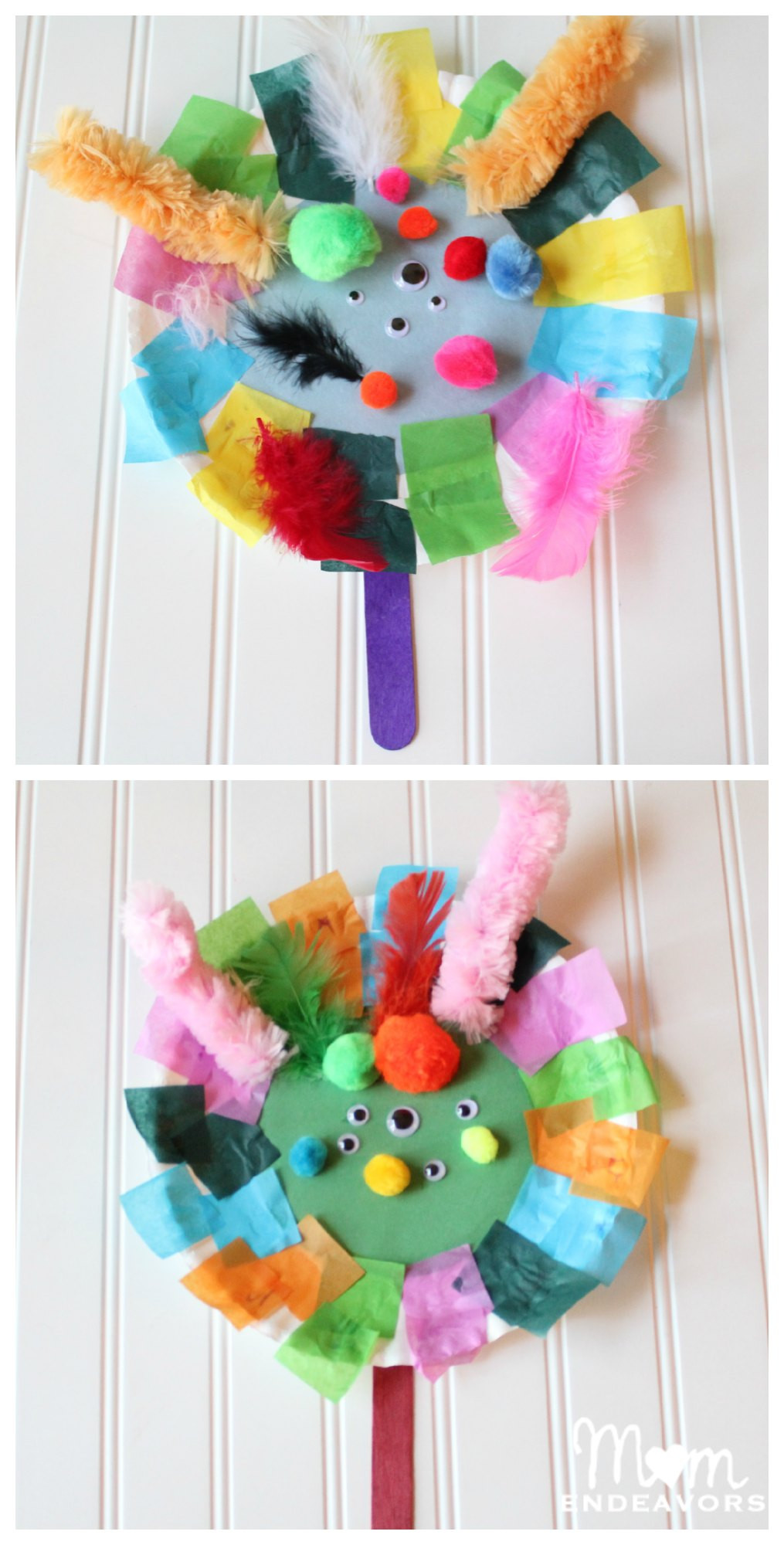Toddler Craft Project  Paper Plate Monster Puppets Preschool Learning Craft