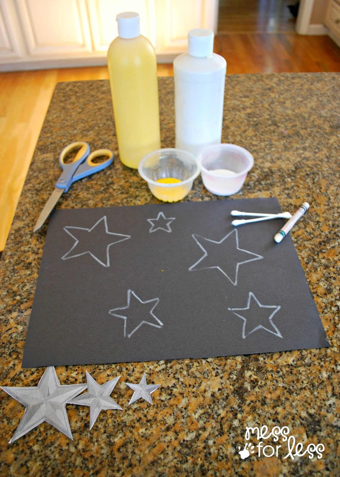 Toddler Craft Project  Kids Art Project Q Tip Star Art Mess for Less