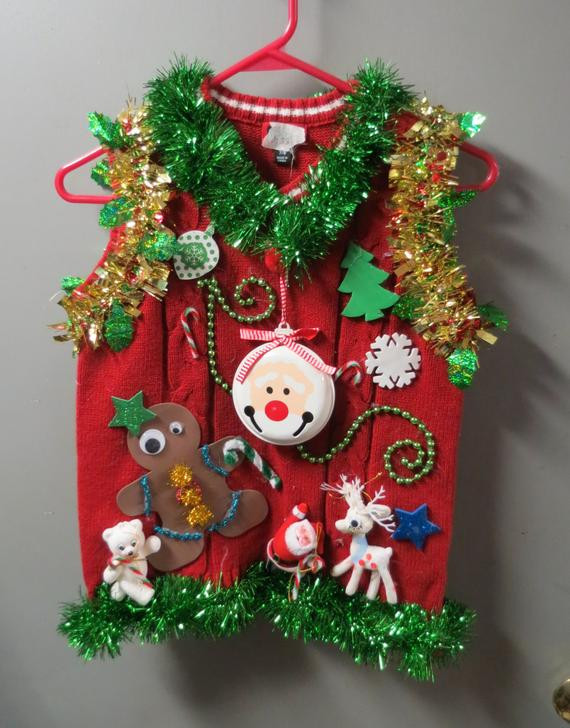 Toddler Ugly Christmas Sweater DIY  Kids Boys Childrens Tacky Ugly Christmas Sweater Vest with