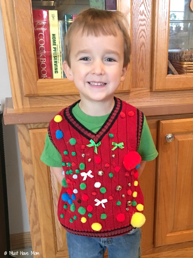 Toddler Ugly Christmas Sweater DIY  Fabulous 1st Graders