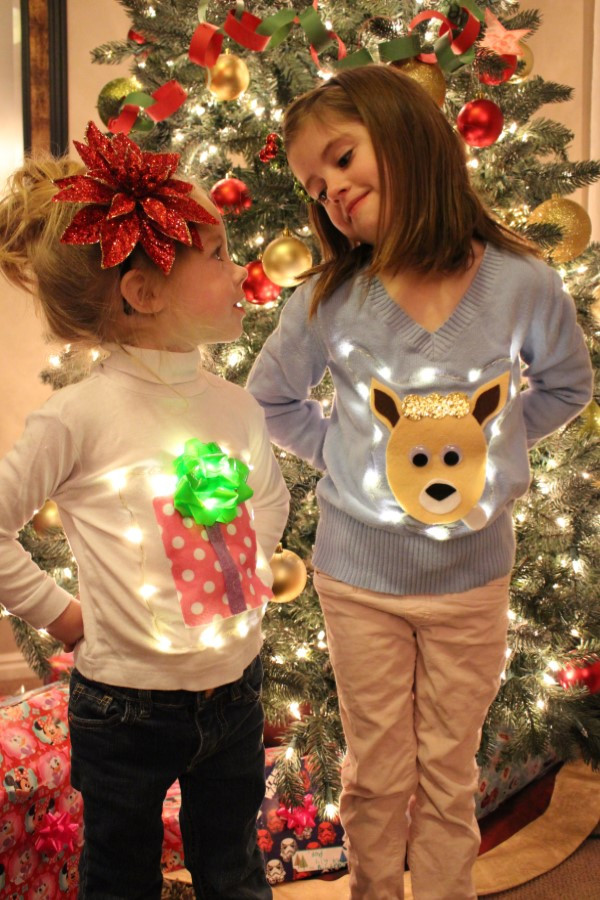 Toddler Ugly Christmas Sweater DIY  Utah County Mom No Sew Ugly Christmas Light Up Sweaters