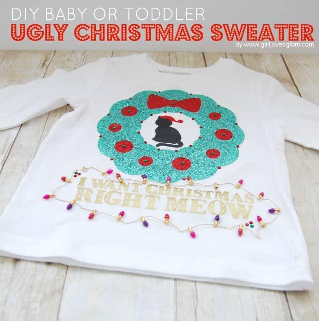 Toddler Ugly Christmas Sweater DIY  DIY Baby or Toddler Ugly Christmas Sweater Girl Loves Glam
