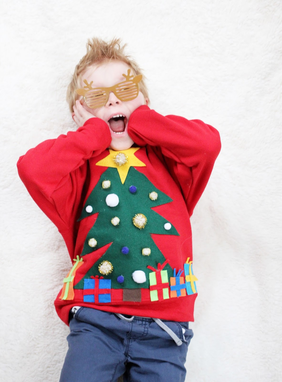 Toddler Ugly Christmas Sweater DIY  DIY Ugly Christmas Sweater For Kids · The Girl in the Red
