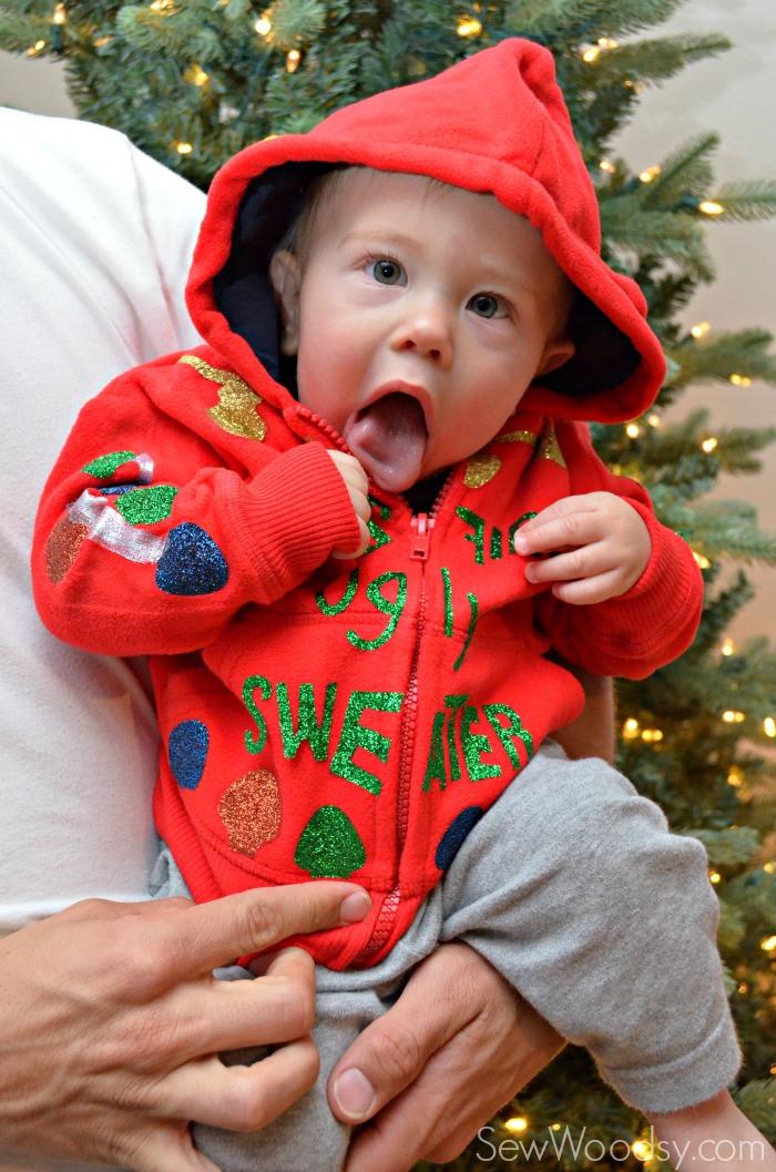 Toddler Ugly Christmas Sweater DIY  DIY Baby s First Ugly Christmas Sweater Sew Woodsy
