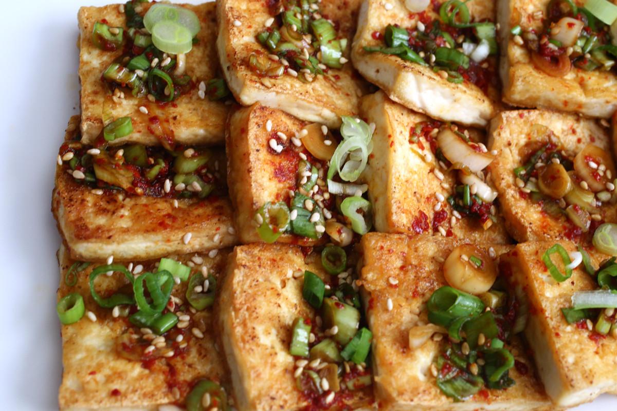 Tofu Sauce Recipes  Pan fried tofu with spicy sauce Dububuchim yangnyeomjang