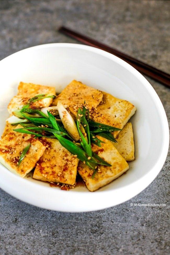Tofu Sauce Recipes  Pan Fried Tofu in Garlic Soy Sesame Sauce My Korean Kitchen