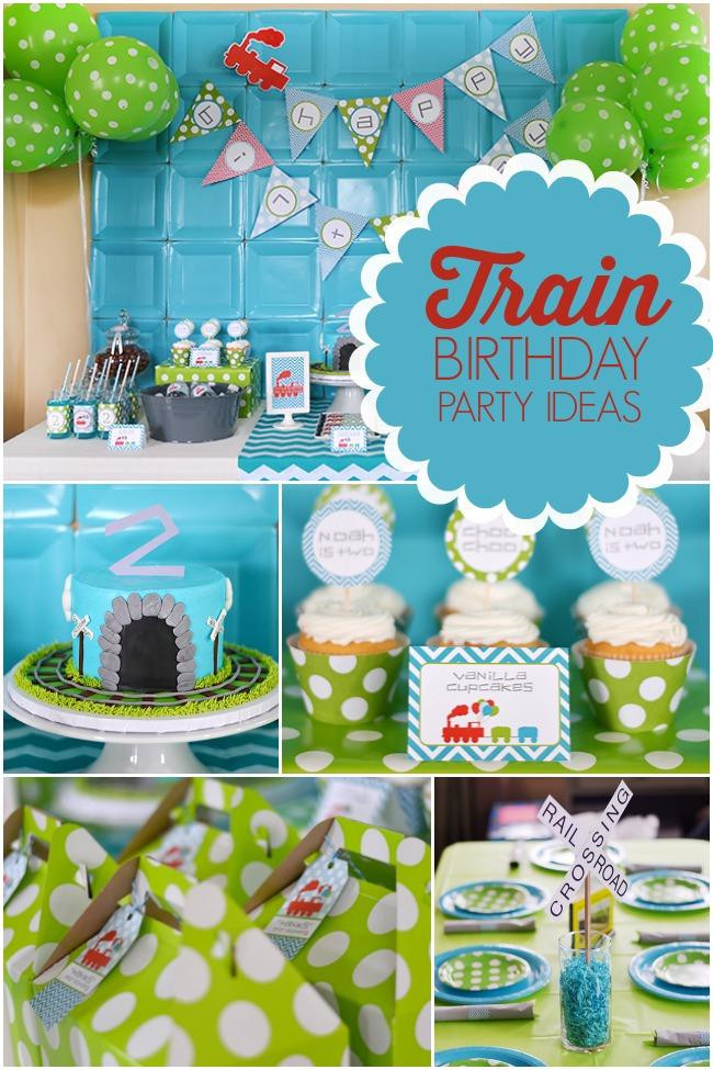 Train Birthday Party Decorations  A Modern Train Themed Boy s Birthday Party Spaceships