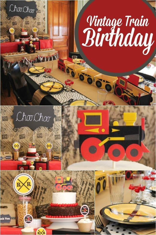 Train Birthday Party Decorations  A Choo Choo Train Themed Boy s 2nd Birthday Party