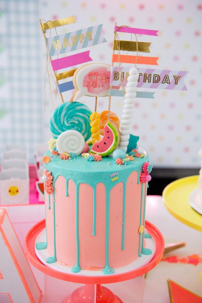 Tween Birthday Cakes  Kara s Party Ideas Pastel Neon Teen Birthday Party