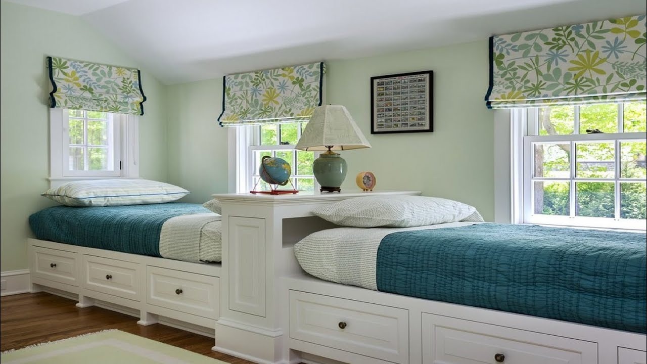 Twin Boys Bedroom  Cool Twin Bedroom Design with Double Bed for Teenage Room