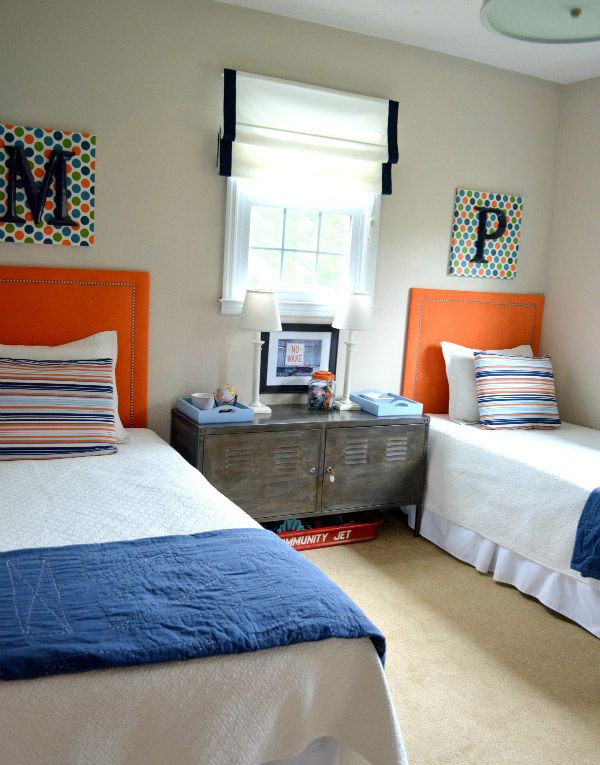 Twin Boys Bedroom  Intense Boy Room in Blue and Orange Palette Awesome