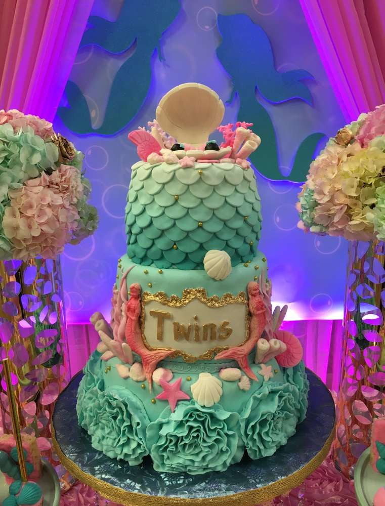 Under The Sea Birthday Decorations  Twins Under the Sea Mermaid Party Birthday Party Ideas
