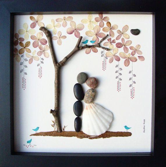Unique Wedding Gift Ideas For Couple  Unique WEDDING Gift Personalized Wedding Gift Pebble Art