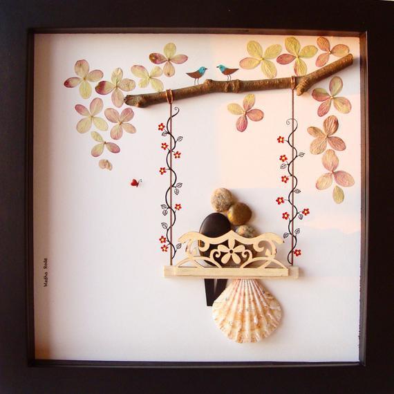 Unique Wedding Gift Ideas For Couple  Unique WEDDING Gift Customized Wedding Gift Pebble Art Unique