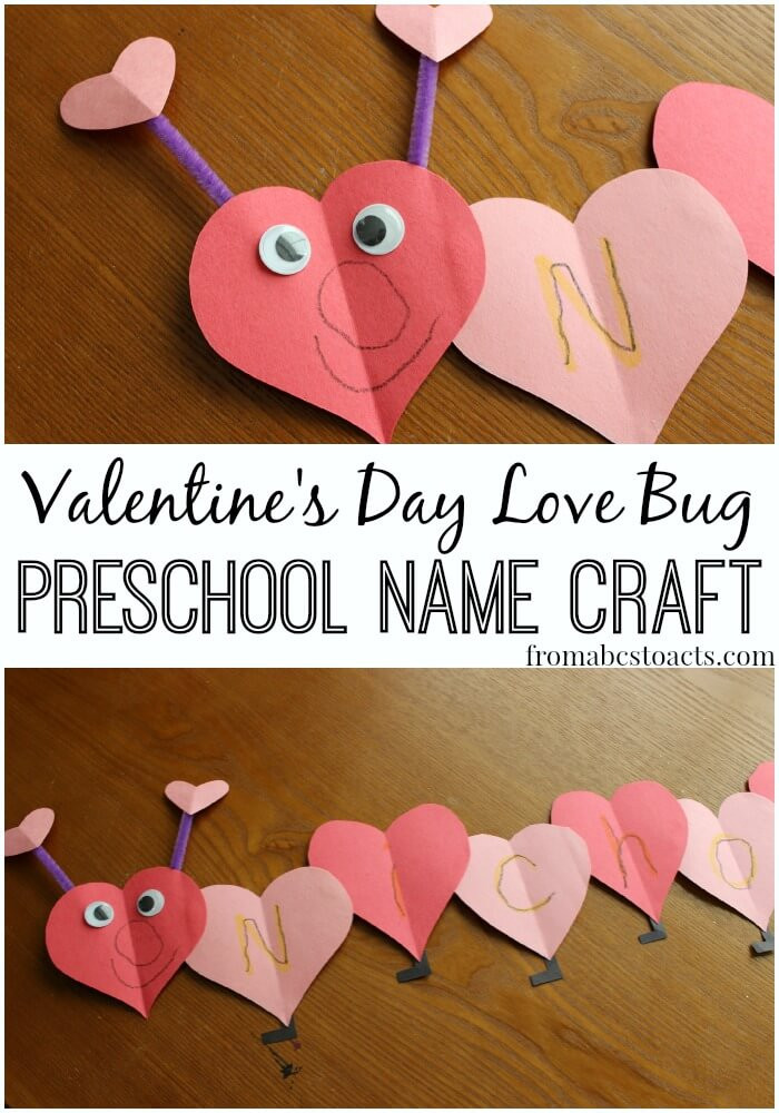 Valentine Day Craft Ideas For Preschoolers  Love Bug Name Craft for Preschoolers