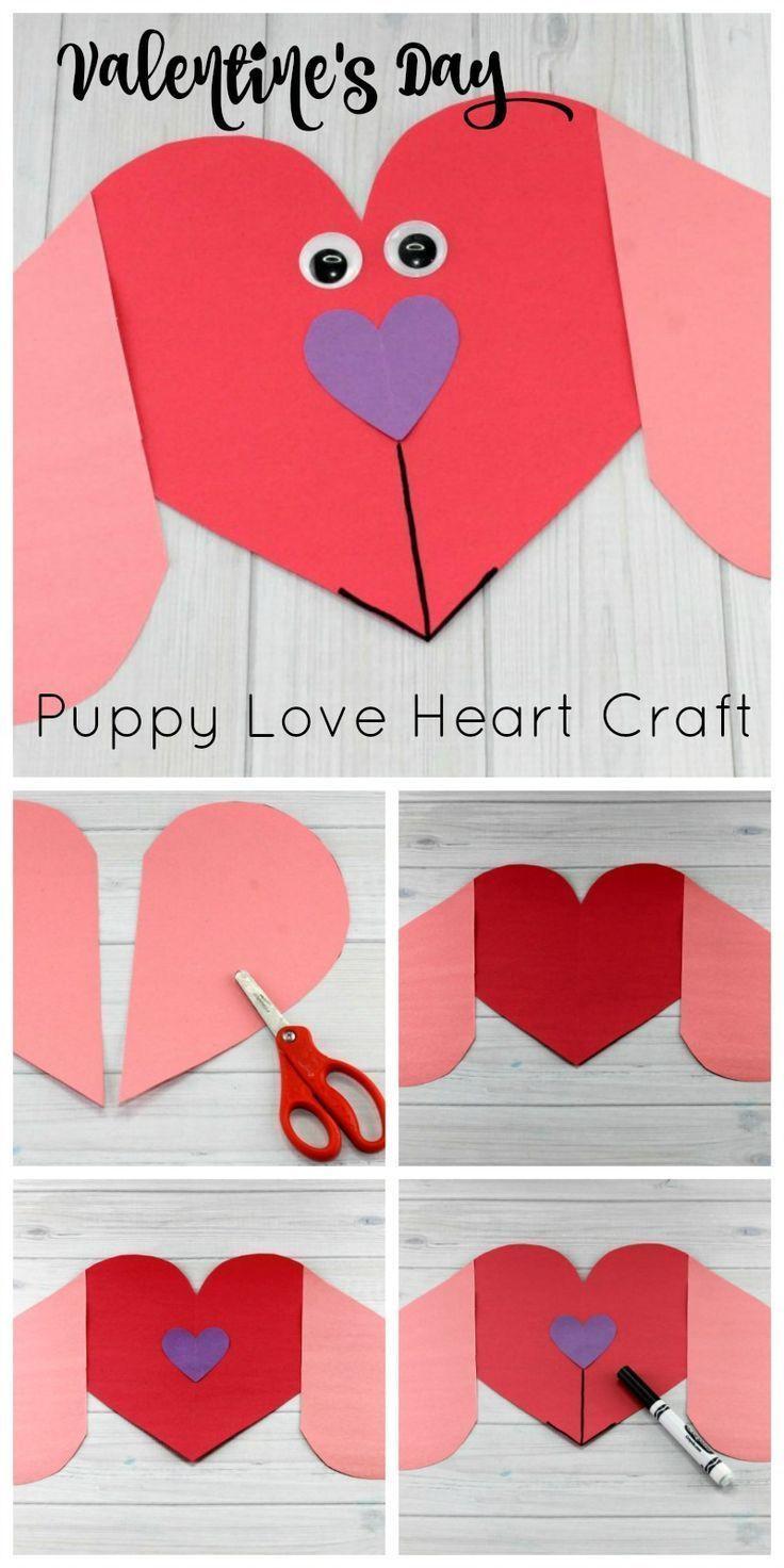 Valentine Day Craft Ideas For Preschoolers  Puppy Love Preschool Heart Craft to Make this Valentine s