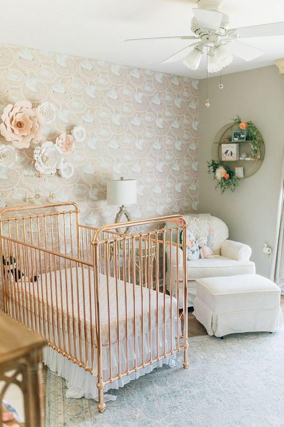 Vintage Baby Nursery Decor  Vintage modern girl's nursery with rose gold crib