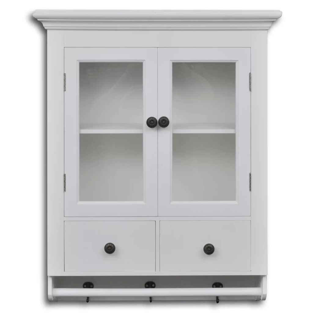 Wall Cabinet Kitchen  White Wooden Kitchen Wall Cabinet with Glass Door