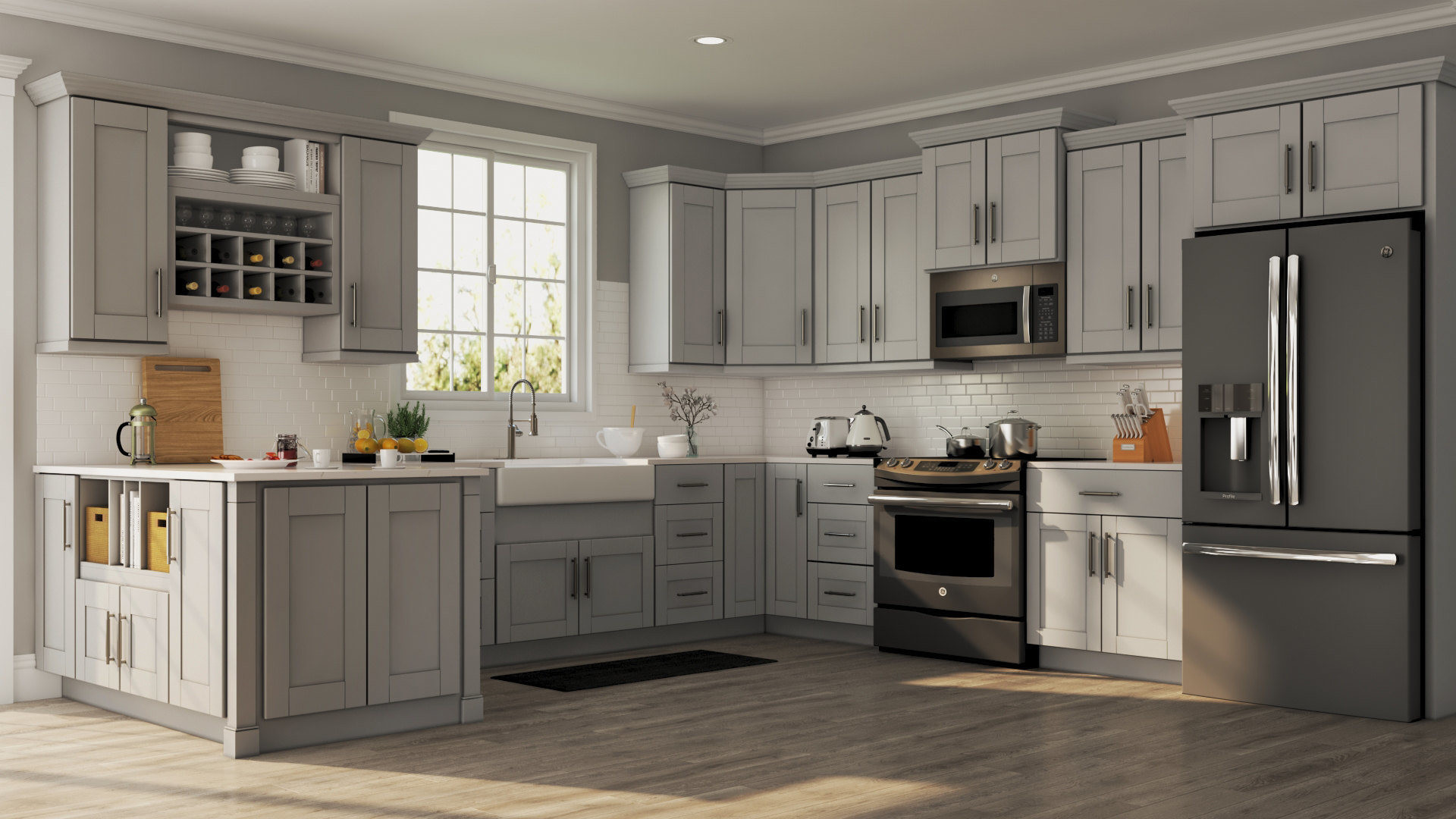 Wall Cabinet Kitchen  Shaker Wall Cabinets in Dove Gray – Kitchen – The Home Depot