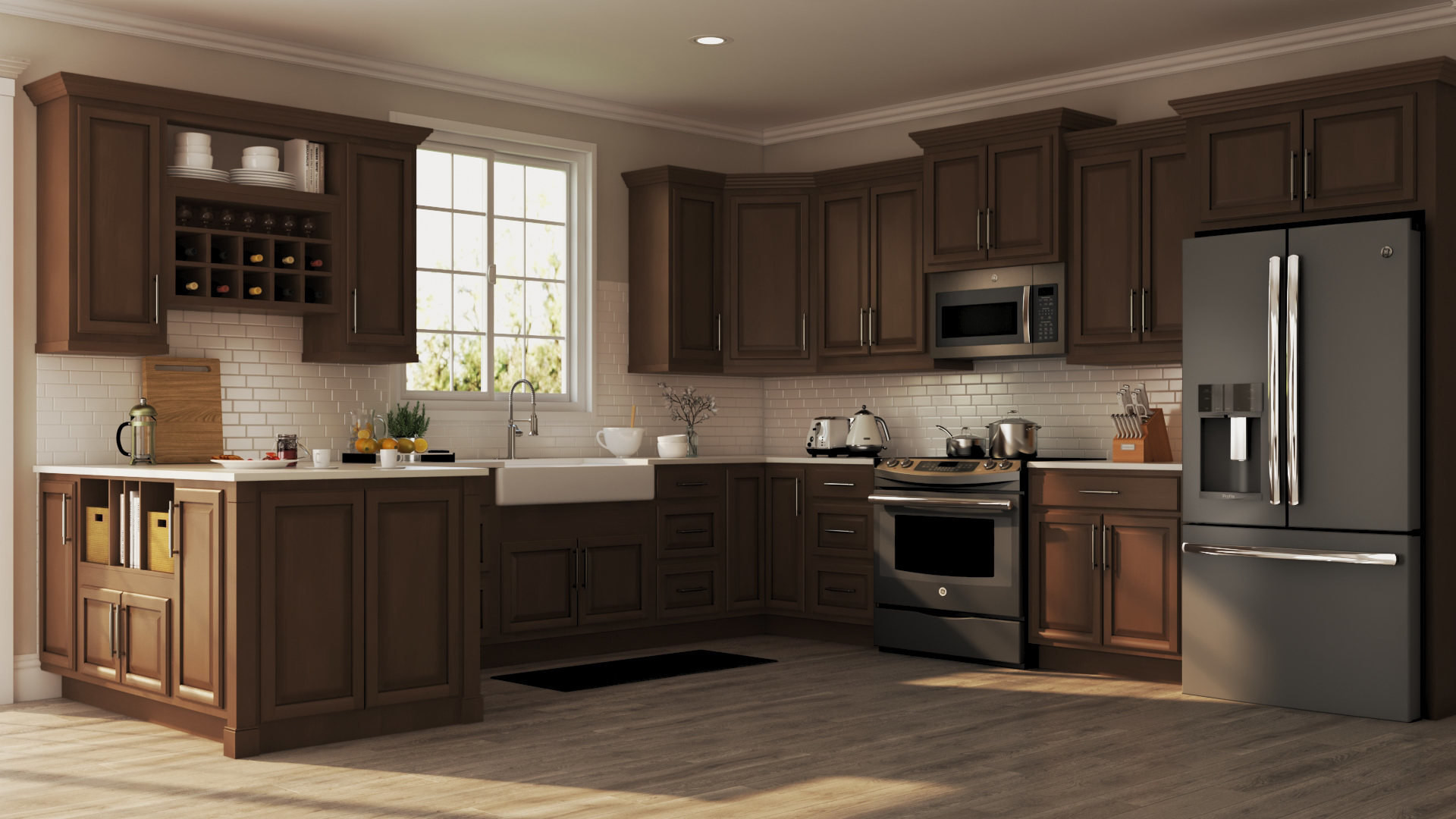 Wall Cabinet Kitchen  Hampton Wall Kitchen Cabinets in Cognac – Kitchen – The