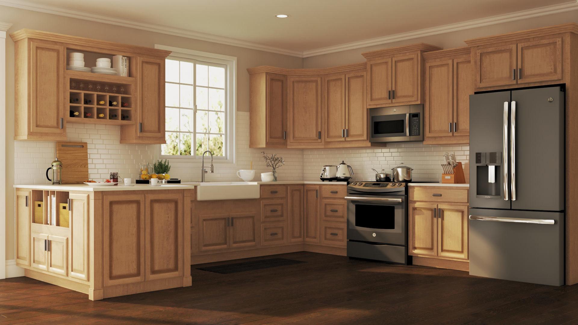 Wall Cabinet Kitchen  Hampton Wall Kitchen Cabinets in Medium Oak – Kitchen