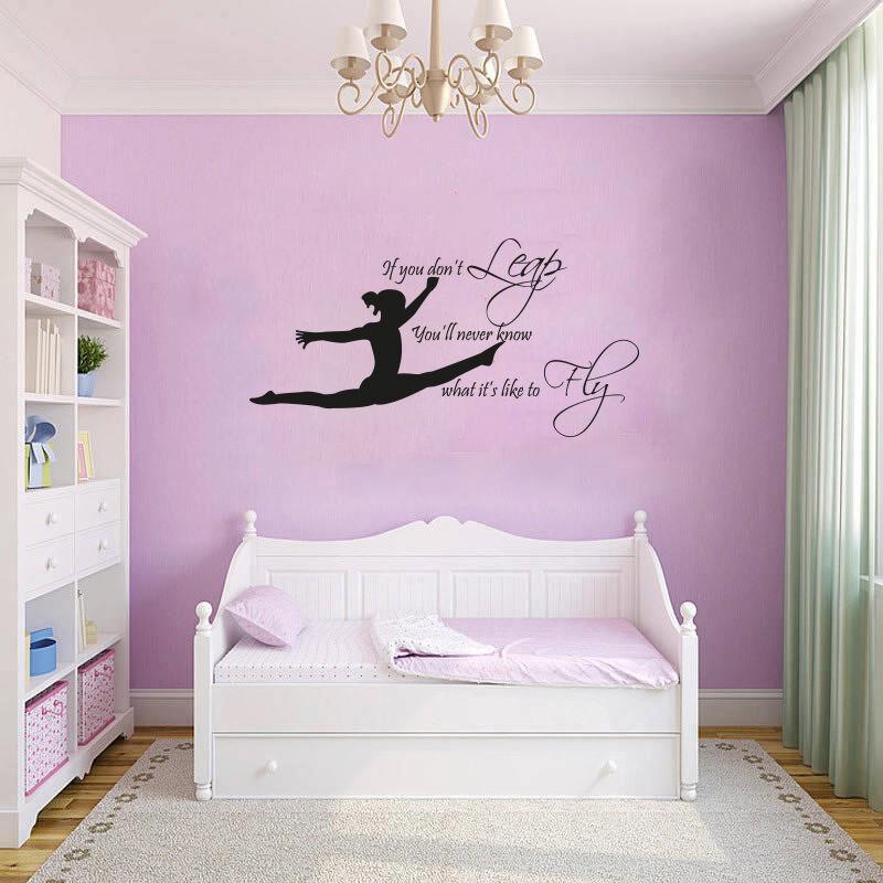 Wall Decals For Girl Bedroom  GYMNAST GYMNASTIC GIRLS Bedroom Quote Vinyl Wall Art