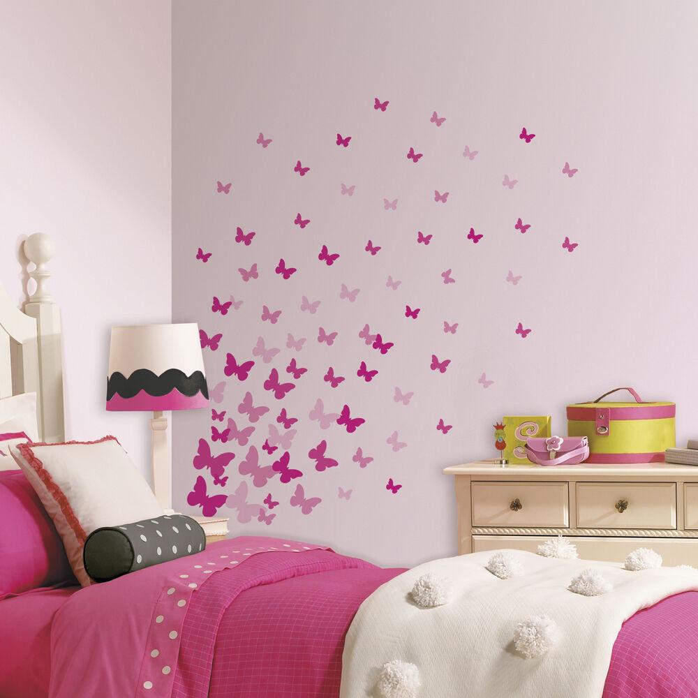 Wall Decals For Girl Bedroom  75 New PINK FLUTTER BUTTERFLIES WALL DECALS Girls