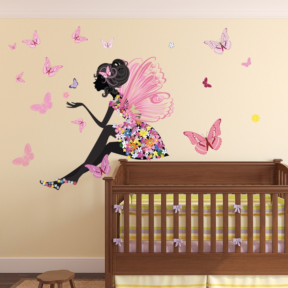 Wall Decals For Girl Bedroom  Flower Fairy Wall Sticker Scene Butterfly Wall Decal Girls