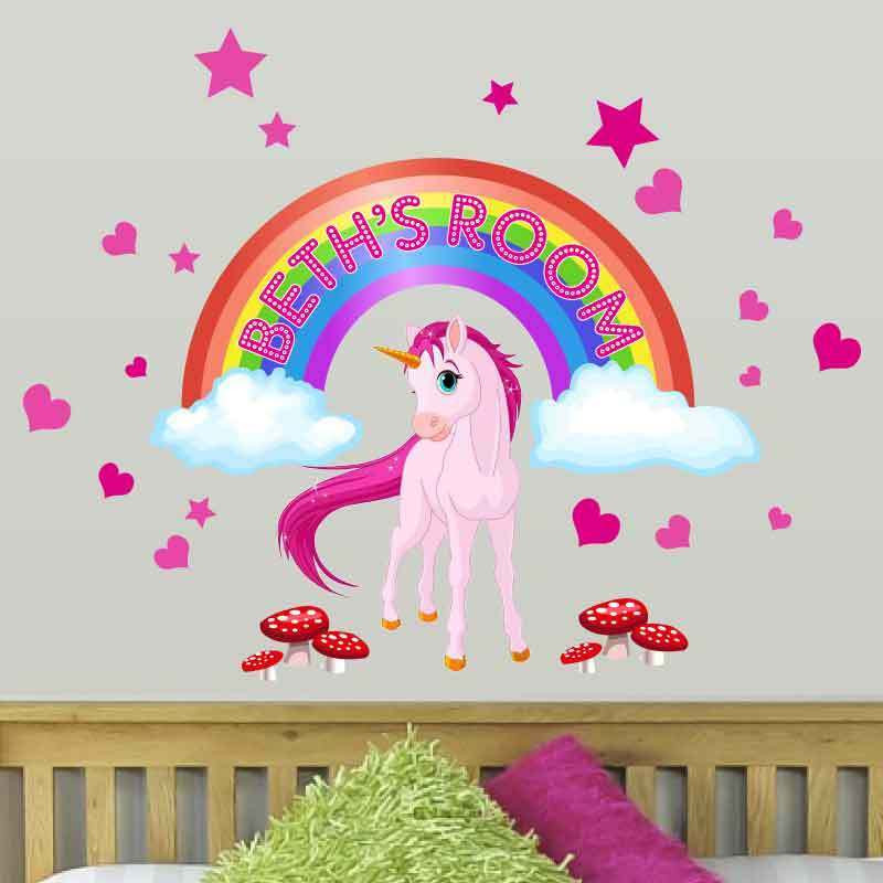 Wall Decals For Girl Bedroom  Personalised Girls Unicorn Horse Fairy tale rainbow wall