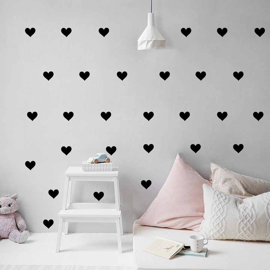 Wall Decals For Girl Bedroom  Removable Wallpaper Little Hearts Wall Stickers Wall