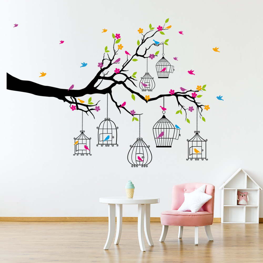 Wall Decals For Girl Bedroom  Branch & Bird Cages Wall Sticker Animal Tree Wall Decal