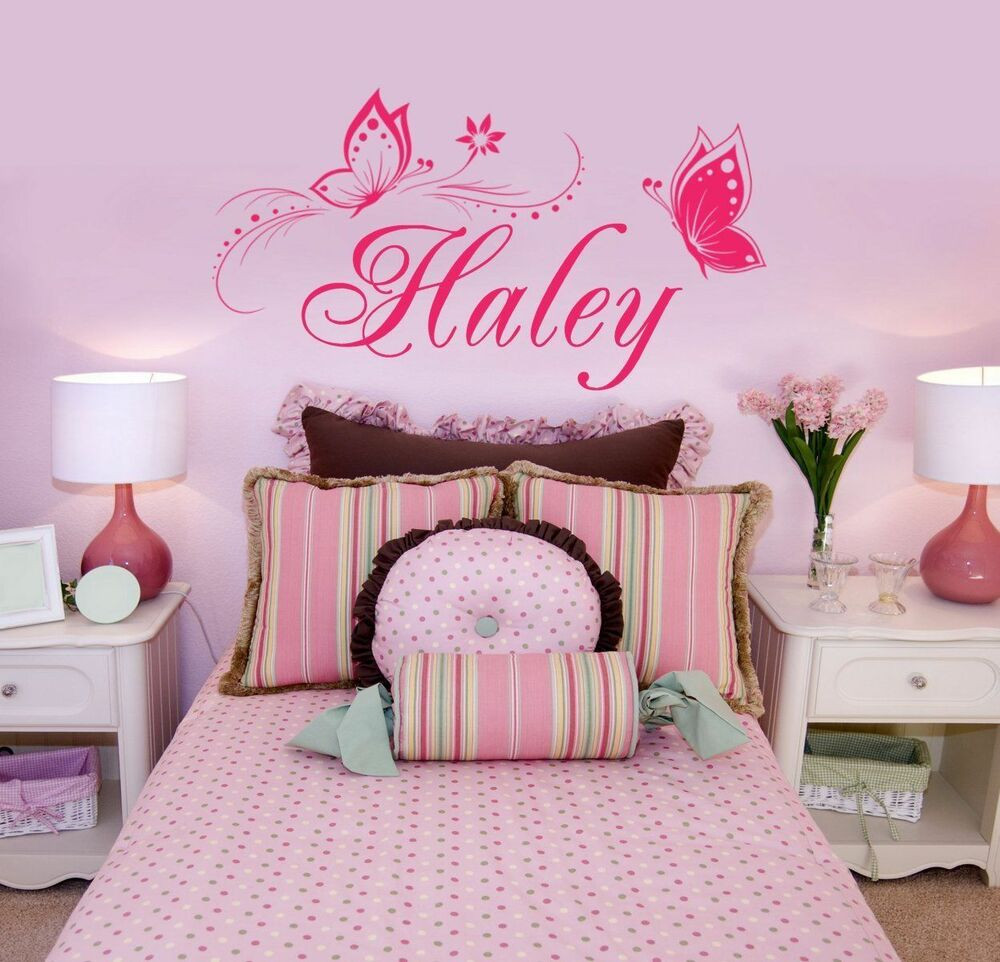 Wall Decals For Girl Bedroom  Butterfly Wall Sticker Personalized ONE NAME Vinyl Wall