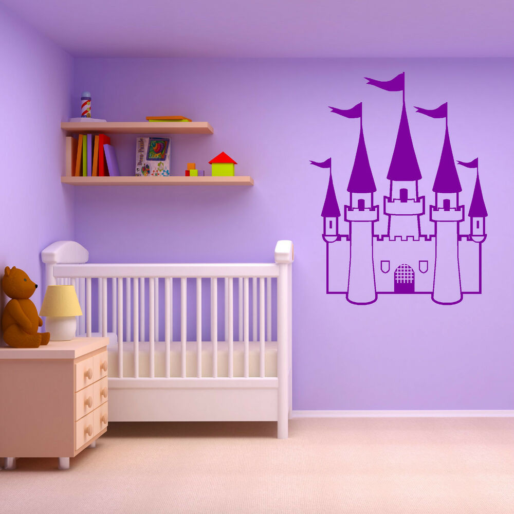 Wall Decals For Girl Bedroom  PRINCESS CASTLE GIRLS BEDROOM FAIRYTALE THEME vinyl wall