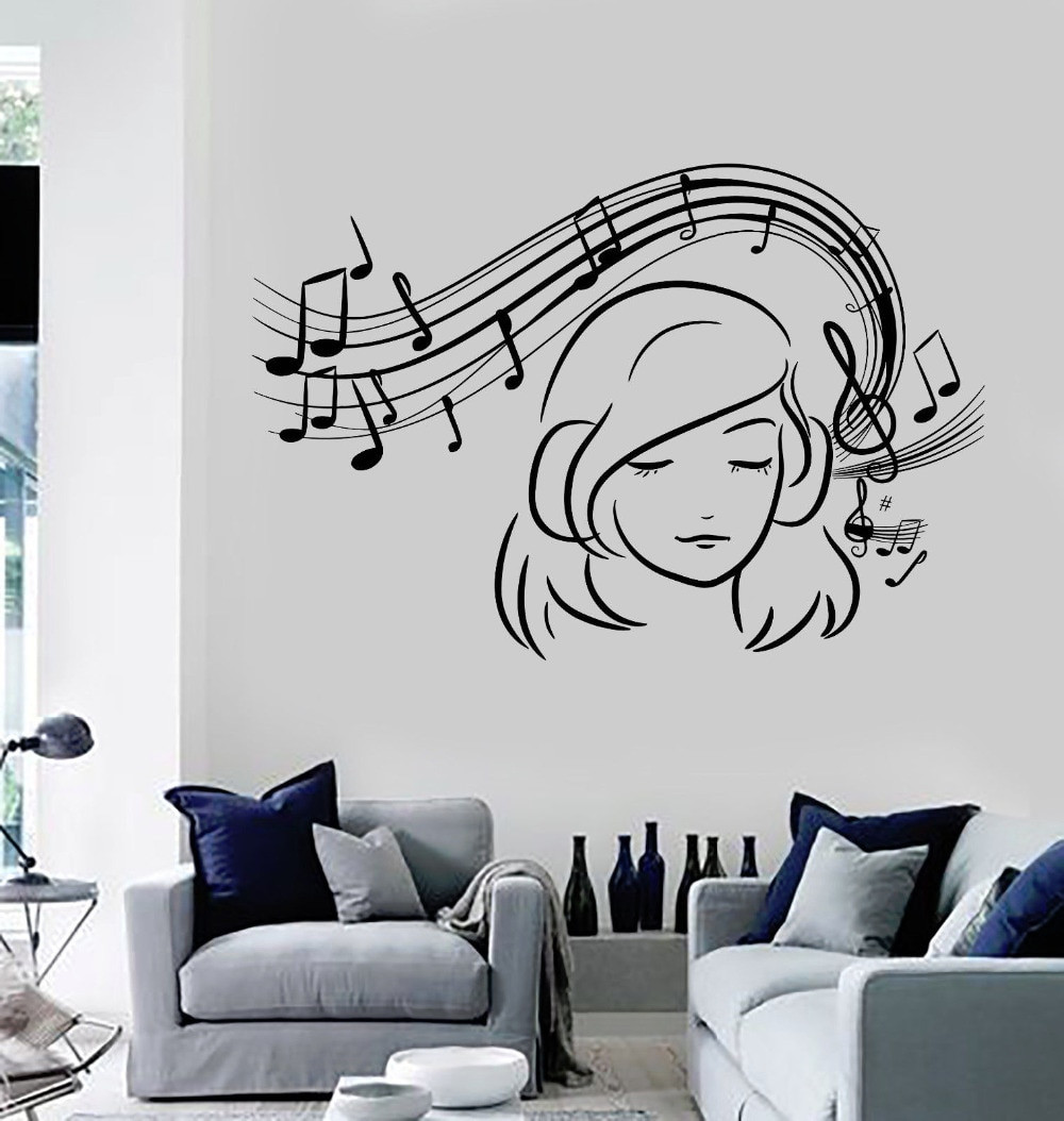 Wall Decals For Girl Bedroom  Teen Girl Vinyl Wall Decal Musical Notes Music Decoration