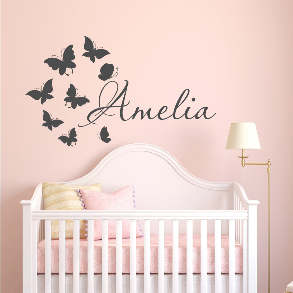 Wall Decals For Girl Bedroom  Name Wall Decal Girl Butterfly Name Wall Decal Personalized