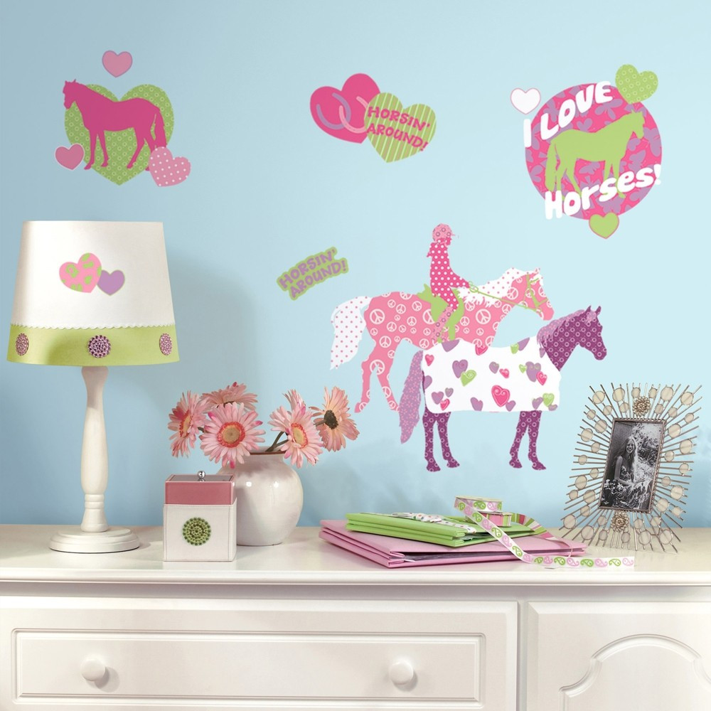 Wall Decals For Girl Bedroom  44 New HORSE CRAZY WALL DECALS Girls Horses Stickers Pink