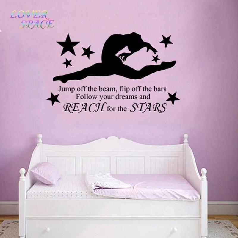 Wall Decals For Girl Bedroom  Aliexpress Buy GYMNAST GYMNASTIC GIRLS Bedroom Quote