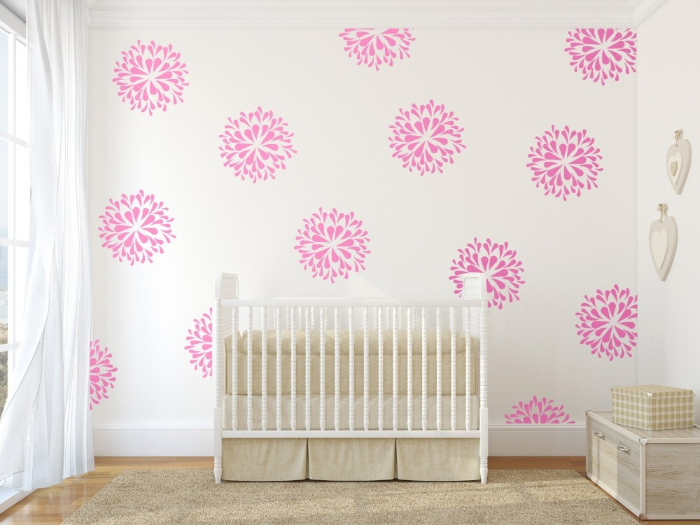 Wall Decals For Girl Bedroom  Beautiful Flower Blooms Pattern wall Decal DIY Home Decor