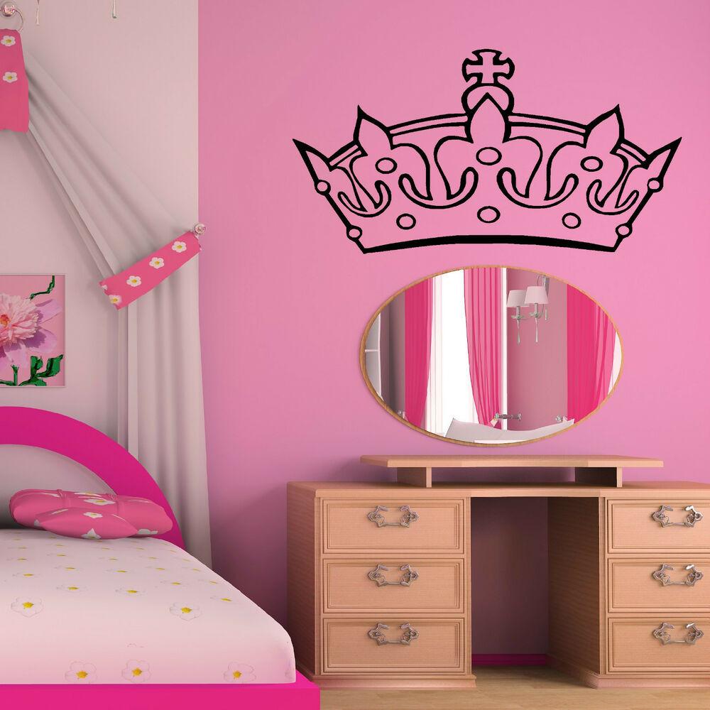 Wall Decals For Girl Bedroom  PRINCESS CROWN TIARA WALL ART STICKER GIRLS BEDROOM